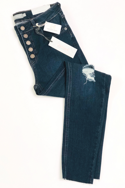Button Front Distressed Skinny Jeans by Just USA - BLACK and DARK DENIM - Vintage Hope Boutique