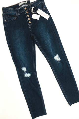 Button Front Distressed Skinny Jeans by Just USA - Vintage Hope Boutique