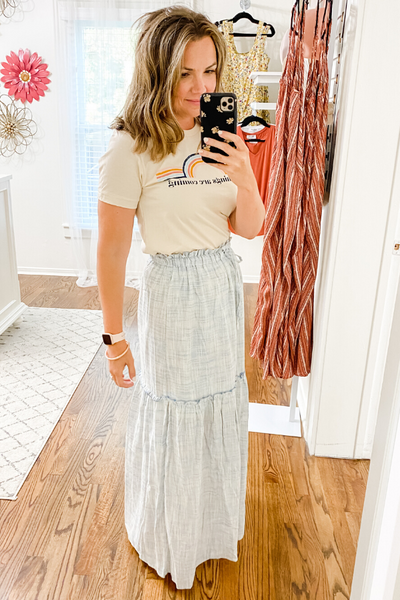 Washed Blue Tiered Maxi Skirt - Vintage Hope Boutique
