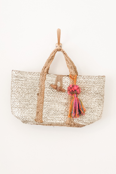 Gold Jute Tote Bag - Vintage Hope Boutique