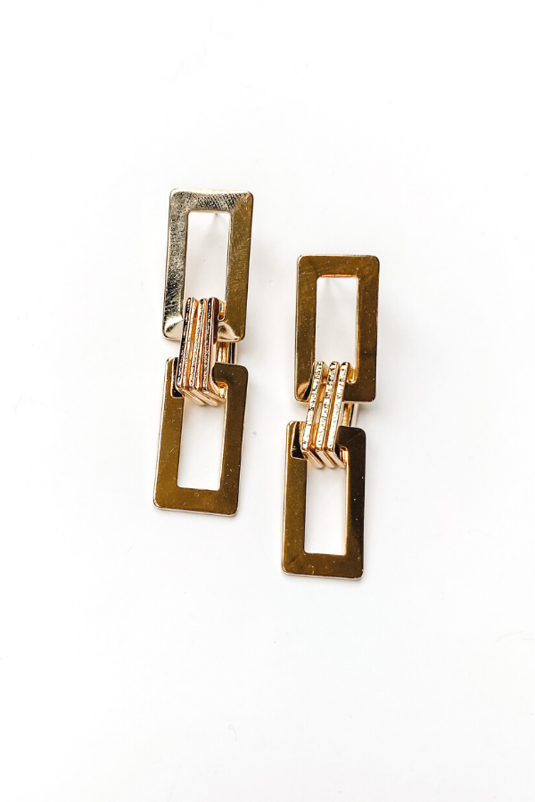 Rectangle Link Earrings - Vintage Hope Boutique
