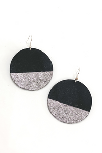 Black/Silver Circle Earrings | Addy's Way - Vintage Hope Boutique