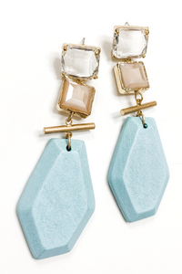 Blue + Crystal Wooden Earrings - Vintage Hope Boutique