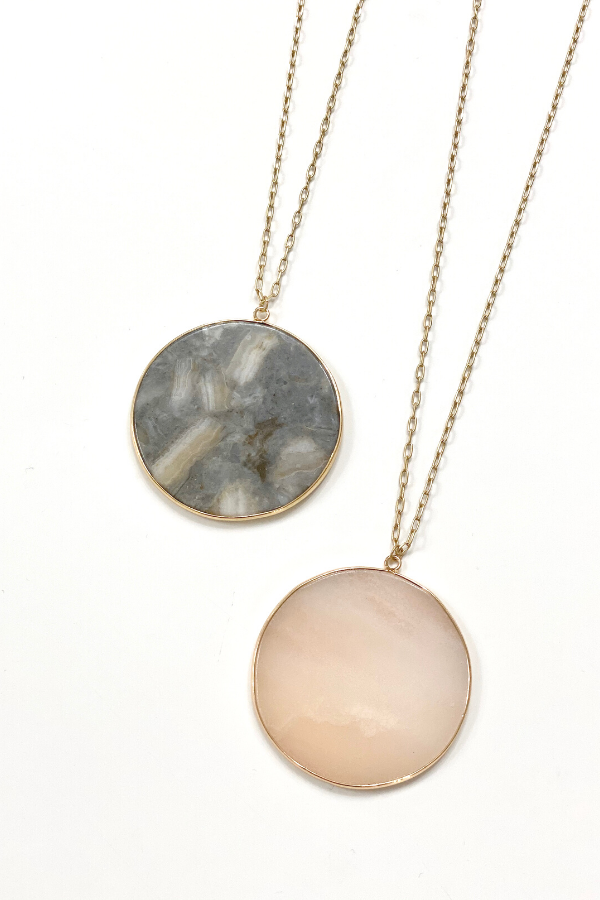 Circle Stone Pendant-RESTOCK - Vintage Hope Boutique