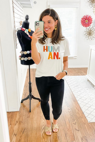 Ivory Human Tee - Vintage Hope Boutique