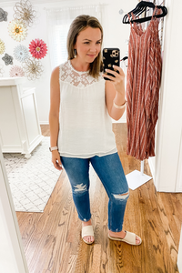 Geometric Lace Sleeveless Top White - Vintage Hope Boutique