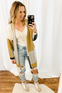 Camel Colorblock Cardigan - Vintage Hope Boutique