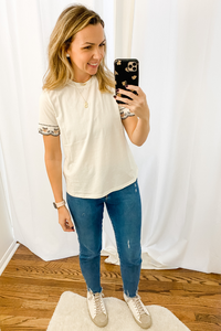 Ivory Embroidered Sleeve T-Shirt - Vintage Hope Boutique