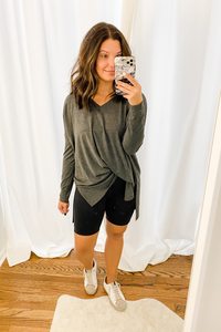 Charcoal Dolman V-Neck Tunic - Vintage Hope Boutique