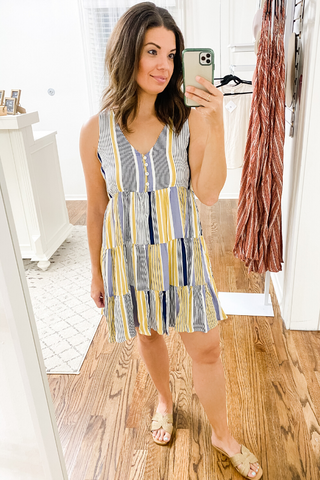 Striped V-Neck Tiered Dress - Vintage Hope Boutique