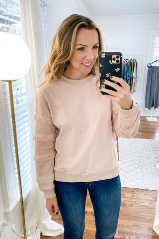 Blush Faux Fur Sleeve Sweater - Vintage Hope Boutique