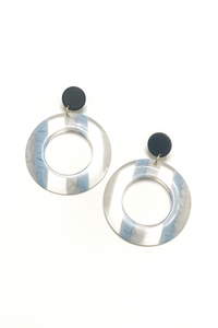 Blue+Grey Acrylic Circle Earring - Vintage Hope Boutique