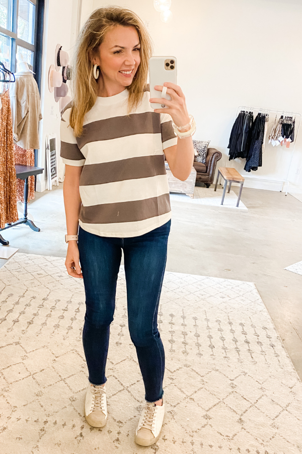 Ivory & Charcoal Stripe Top - Vintage Hope Boutique