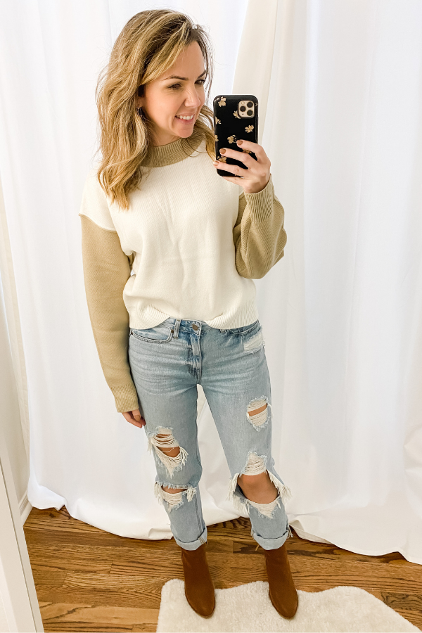 Ivory & Cream Crewneck Sweater - Vintage Hope Boutique