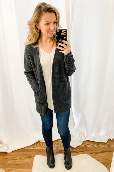 Charcoal Waffle Cardigan - Vintage Hope Boutique