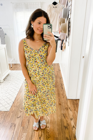 Mustard Micro Floral Dress - Vintage Hope Boutique