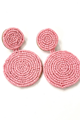 Light Pink Beaded Circle Earring - Vintage Hope Boutique