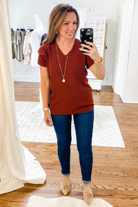 Rust Flutter Sleeve Top - Vintage Hope Boutique