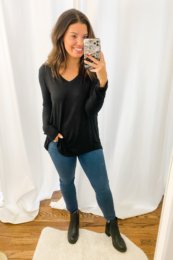 Black Everyday Long Sleeve V Neck-RESTOCK - Vintage Hope Boutique