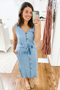 Button Front Chambray Midi - Vintage Hope Boutique