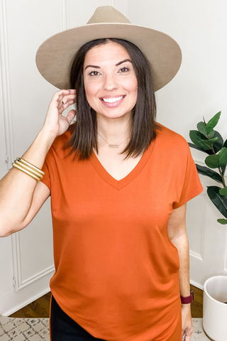 VH Basics V-Neck Tee in Rust - Vintage Hope Boutique