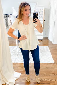 White V Neck Waffle Top - Vintage Hope Boutique