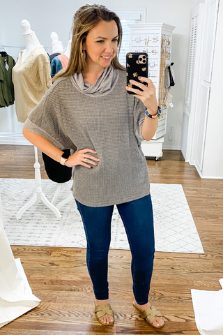Grey Waffle Cowl Neck Knit Top - Vintage Hope Boutique