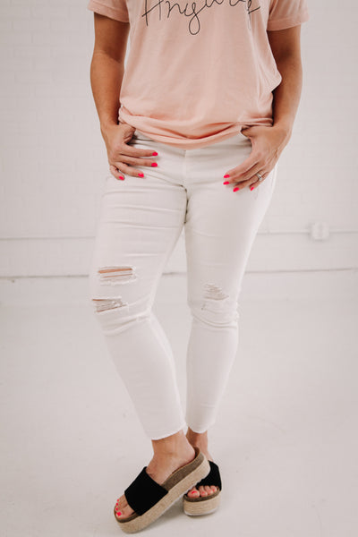 White Distressed Jeans by Grace & Lace