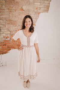 Ivory Embroidered Midi