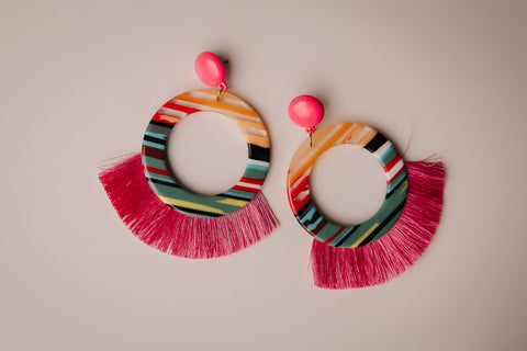 Pink Stripe Acrylic Earrings