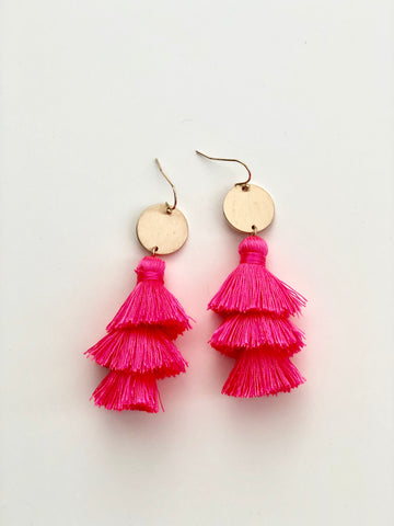 Gold Disc Tassel Earring