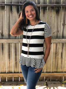 Z- Black and White Stripe Peplum Top