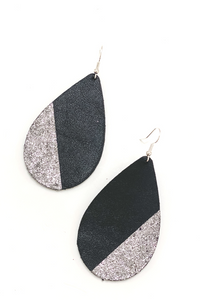 Black/Silver Teardrop Earrings | Addy's Way - Vintage Hope Boutique