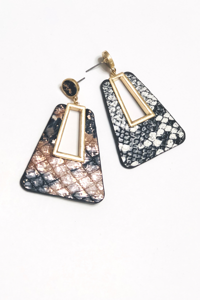 Mixed Print Leather Earrings - Vintage Hope Boutique