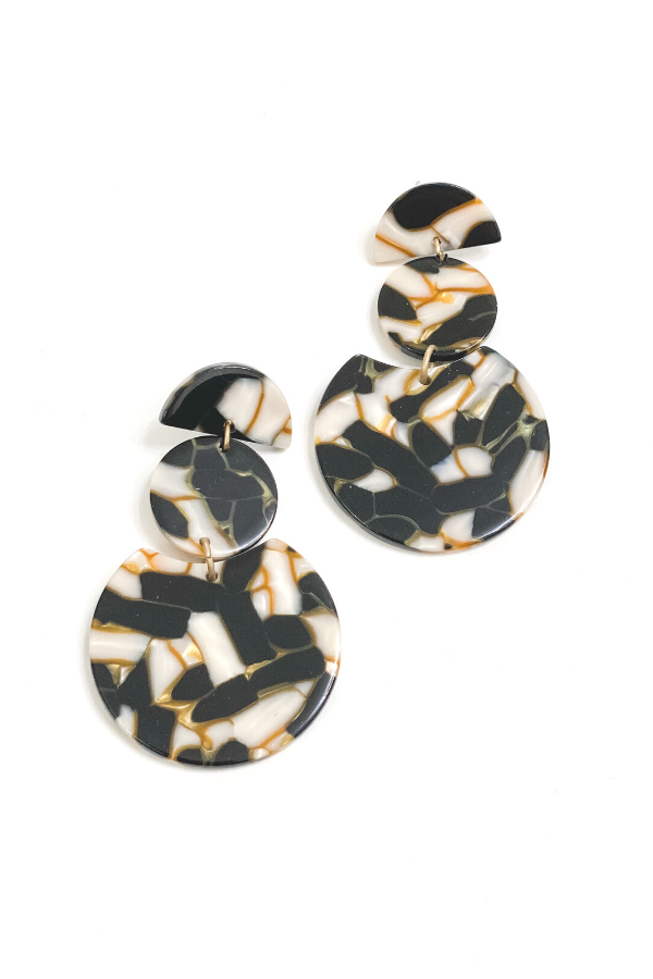 Black and White Statement Acrylic Earring - Vintage Hope Boutique