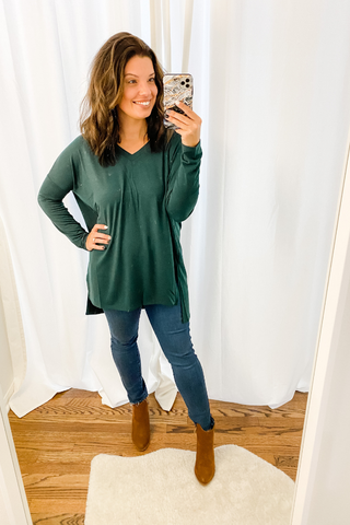 Hunter Green Dolman V-Neck Tunic - Vintage Hope Boutique