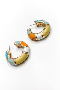 Yellow + Turquoise  Block Colored Hoop Earrings - Vintage Hope Boutique