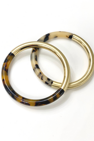 Tortoise Shell and Gold Bangle - Vintage Hope Boutique
