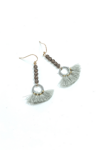 Grey Glitter Bead Fringe Earring - Vintage Hope Boutique