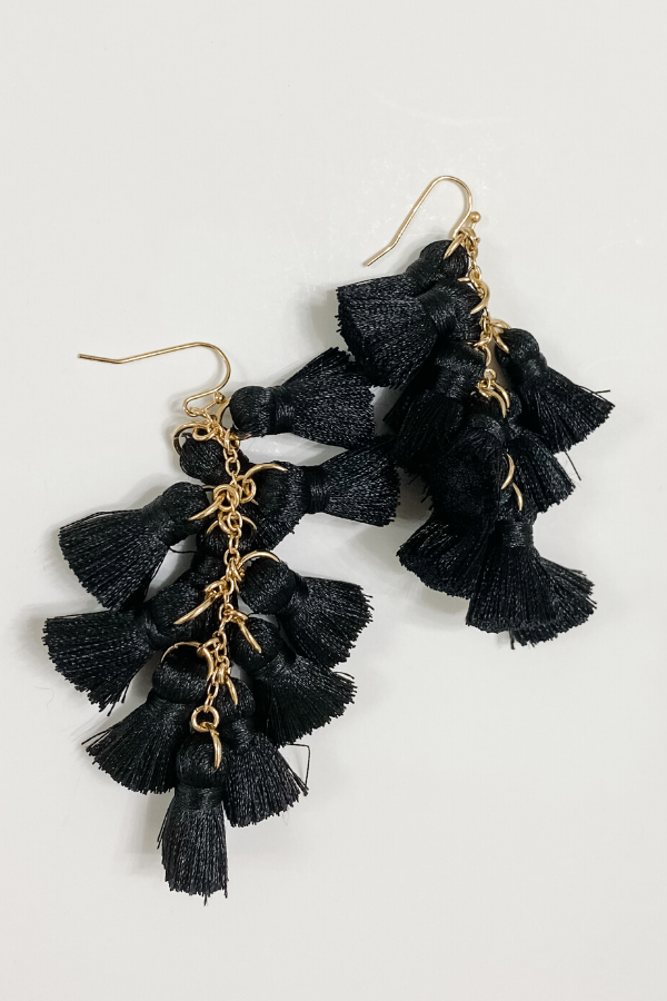 Multi Tassel Black Earrings - Vintage Hope Boutique