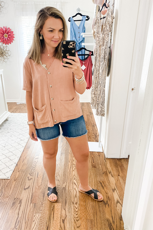 Linen Button Down V-Neck Top - Vintage Hope Boutique