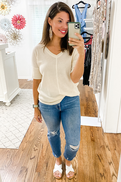 Cream Waffle Knit Top - Vintage Hope Boutique