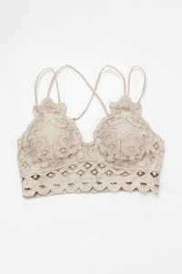 Scalloped Lace Champagne Bralette - Vintage Hope Boutique