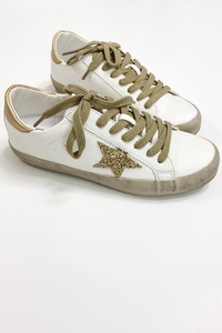 Gold Glitter Star Sneakers - Vintage Hope Boutique