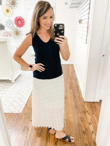 Ivory Patterned Pleated Midi Skirt - Vintage Hope Boutique
