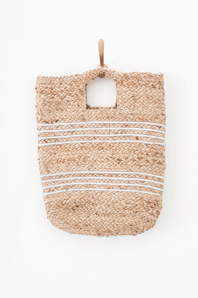 Silver Stripe Jute Bucket Bag - Vintage Hope Boutique