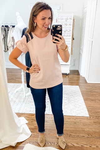 Blush Ruffle Trim Top - Vintage Hope Boutique