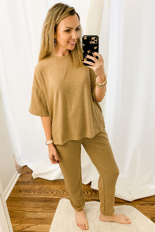 Camel Ribbed Lounge Set - Vintage Hope Boutique