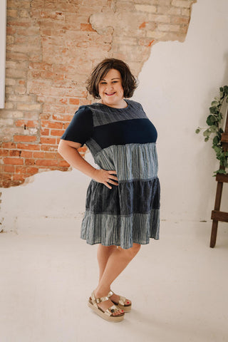 Curvy Denim Ruffle Dress
