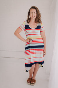 Striped High Low T-Shirt Dress